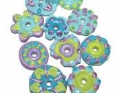 ALIEN FUN FLATS Lampwork Beads Handmade - Flat DIscs in Turquoise Blue Purple Green  - Set of 10