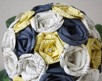 The Hobbit Book Page Blue and Yellow Dr. Who Bouquet Combo