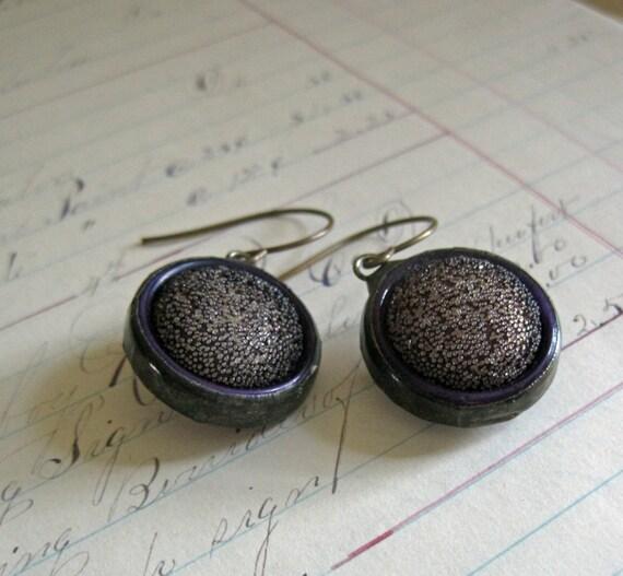 Button Earrings Purple Retro Jewelry