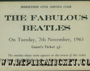 5   1961-1962  BEATLES  tickets scrapbooking paper replicas made in the USA
