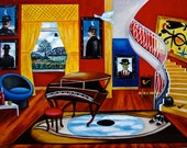 Original Art Print, by k Madison Moore, Big Eyes, Yellow Blue Staircase, Baby Grand Piano, Yellow Drapes, Landscape, Pipes, Blue Chair