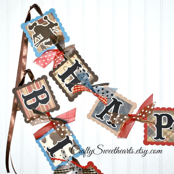Little Cowboy Birthday Banner Decoration Western Party Theme