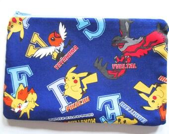 Pencil/Cosmetics Case - Nintendo Pokemon, Pocket Monsters XY, Animie, Manga on blue fabric