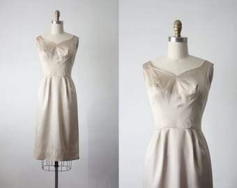champagne bubbles dress / vintage 1960s satin wiggle dress