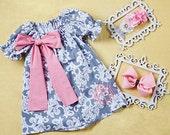 girls dress, Infant dress, Toddler dress, Gray Damask Bow Monogram Dress - Infant & Toddler
