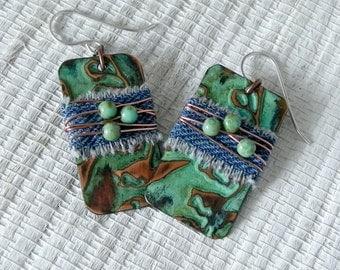 Handmade Copper and Denim Jeans Earrings
