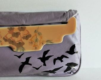 Christmas / Gift for Her / Vintage Purse / Vintage Clutch / Painted Purse / Purse with Bird / Vintage / Bird / Prom Purse / Wedding