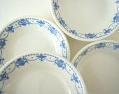 Four Small Vintage Bowls . Blue and White . Antique Syracuse China . Small Dishes