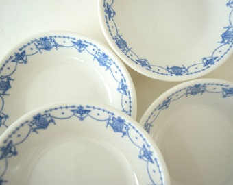 Four Vintage Bowls . Blue and White . Antique Syracuse China . Small Dishes