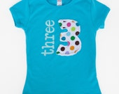 Turquoise girls or baby Birthday Shirt, fabric applique number, High Quality, 1 2 3 4 5 6 7,  Birthday party shirt, 1st, 2nd, 3rd, 4th, 5th,