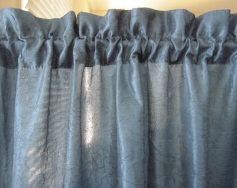 Set of 2 Semi Sheer Crushed Curtains, 2 Blue Semi Sheer Crushed Curtains 63 long...i have a total of 2 sets available