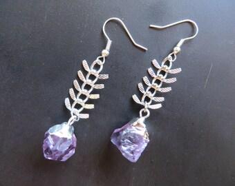 Dipped Amethyst Nugget Dangle Vertebrae Crystal Point Raw Quartz Rough Fish Bone Earrings Fishbone Chevron Jewelry