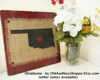 OKLAHOMA, Burlap Rustic State Sign, red or other color, burlap distressed 12 inch by 12 inch sign, shabby chic style, Rustic Burlap OKLAHOMA