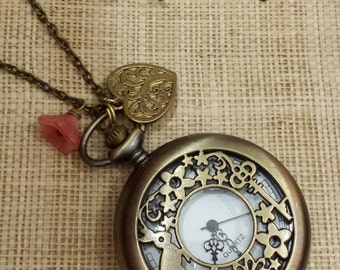 Alice in Wonderland Pocket Watch Necklace. Large Size.