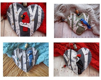Made to Order Birch Forest Ornaments - Choose Cardinal, Bluebird, Blue Jay or Woodpecker