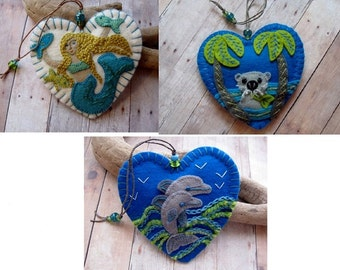 Made to Order Ornaments - Choose Embroidered Mermaid, River Otter, or Leaping Dolphins