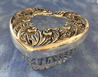 Vintage Silverplate and Glass Heart Shaped Box