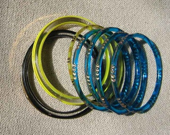 Vintage 7 Glass Bangle Bracelets