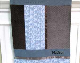 Boy Baby blanket - Baby Blue Animal Scrappy Satin Patch Blanket minky, blue, chocolate brown, gray, personalized crib quilt embroidery name