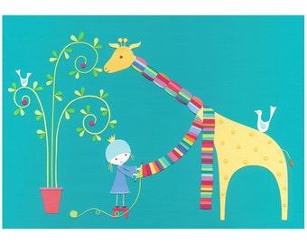 She Loved Her Giraffe - archival art print - A4