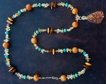WIND SPIRIT Necklace (Drusy Agate, Citrine, Amber, Turquoise, Fossil Stone, Sterling Silver)