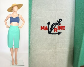 Japanese Vintage / Sailor Skirt / Nautical Pencil Skirt / Marine Anchor / Wiggle Hourglass Pin up / Sea Foam Green / Extra Small