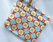 Reusable eco friendly washable Sandwich Bag - red yellow buttons on blue