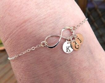 Personalized Infinity Bracelet, infinity bracelet, initial bracelet, disc bracelet, friendship bracelet, sisters bracelet