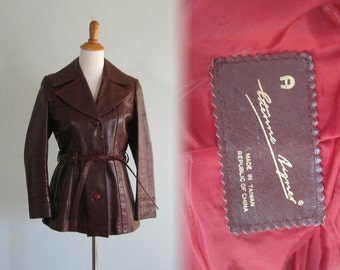 Vintage Sleek Etienne Aigner Oxblood Leather Jacket - 70s Designer Leather Jacket - Vintage 1970s Jacket S