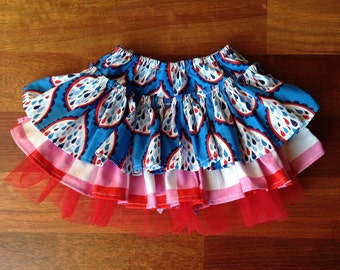 Waterworks Bella Skort, blue red and white, ruffle bottoms, bloomer, girls bloomers, girls tutu, baby skirt, girls outfit