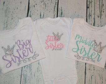 Princess Sisters Sibling Shirt Set of 3 - Big Sister Middle Sister Little Sister Glitter Crown and arrow Sibling set