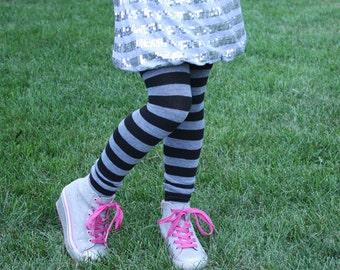 Black and Grey Big Girls Leg Warmers