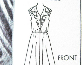 Uncut Simplicity 5364 Misses' Dress Sleeveless Ruffles Vintage Sewing Pattern  Sizes 10 12 and 14