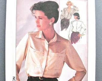 Uncut Simplicity 7047 1980s Buttoned Front Blouse Vintage Sewing Pattern Bust Sizes 10-12-14