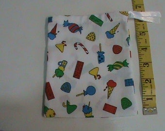 White Drawstring Pouch with Bright Colored Ice Cream Candy Gum
