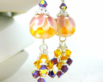 Yellow Purple White Lotus Earrings, Flower Earrings, Botanical Earrings, Crystal Dangle Earrings, Floral Earrings Lampwork Earrings, Nature