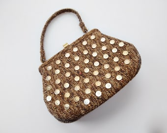 Soure Bag / 1950s Carpet Handbag with Gold Medallions