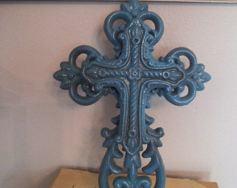 Wrought Iron Double Cross Wall Hanging ~ Rustic Aqua ~ Turquoise Cast Iron