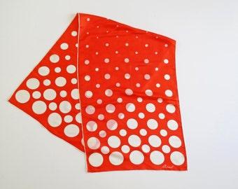 CREAMSICLE // silky orange and white polka dot 60s mod scarf
