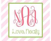 Pink Candy Stripe Sticker, Enclosure Card, Book Plate, or Address Label Set
