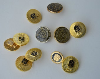 Coat of Arms - Crest  - Metal Shank Buttons - Various sizes, shades & styles - 10