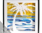 palm tree shadowbox - made from recycled magazines, beach, waves, summer, tropical, tree, sunset, sky