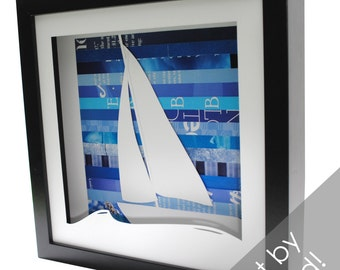 sailboat shadowbox- made from recycled magazines, beach, summer, waves, ocean, winds