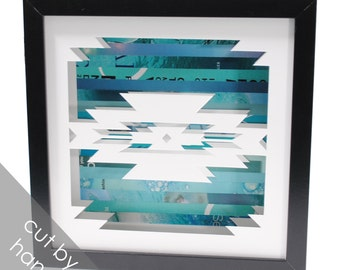 geometric pattern shadowbox- made from recycled magazines, modern, pattern, southwest, native, navajo