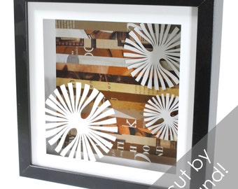 whirly circles shadowbox- made from recycled magazines, round, cut circles, art, creative. modern
