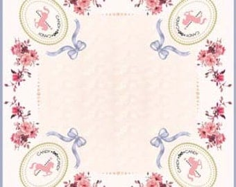 Candy Candy logo pink carousel horse cameo silk scarf