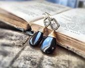 Black Onyx Gold Earrings 14K Gold Filled Floral Brass Oval Ring Dangle Earrings Drop Earrings Perfect Gift - Free Shipping