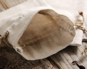 Linen Drawstring Bags (3 x 4 3/4) - lot of 12