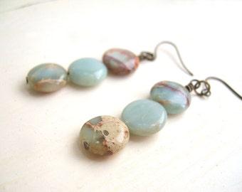 Gemstone Dangle Earrings Stacked Aqua Terra Jasper - Pale Earth