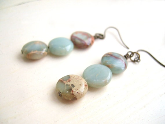 Gemstone Dangle Earrings Stacked Aqua Terra Jasper - Pale Earth
